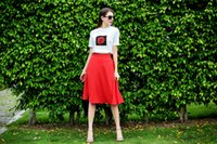 Wholesale Two Piece Casual Chiffon Top - Casual rose t shirt skirt outfit femme rose two piece set red a line skirt chiffon womens skirt and top sets