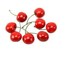 Wholesale Fake Fruit Decoration Kitchen - Pack of 24 pcs, Kitchen Party Decoration Desk Ornament Artificial Lifelike Simulation Small Cherries Fake Fruit FX128