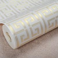 weiße papierrollen großhandel-Zeitgenössische moderne geometrische Tapete neutrale griechische Schlüsseldesign-Vinyl-PVC-Tapete für Schlafzimmer 0,53 m x 10 m Rolle Gold auf Weiß