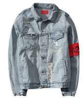 Wholesale America Long - 424 New Euro-America High Street Destroy Washed Distressed Denim Jacket Men Tide Brand Loose Jacket chaqueta hombre kanye west