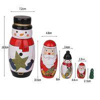 Wholesale Wooden Nesting Toy - 1XSet=5PCS Handmade Painting Craft Snowman Santa Claus Christmas Tree Nesting Dolls Matryoshka Russian Toy Home Decoration Christmas Gifts