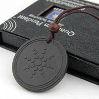 Wholesale Ion Energy Necklace - 10Pcs Quantum Pendant Necklace Scalar Energy Pendant with Negative Ion Energy Pendant Black Lava Stone Jewelry Negative Ion Science Bio Pend