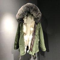 Wholesale Extra Long Coats Women - Extra large size XXXL Mr & Mrs Furs Coats women's Long Parkas Fox fur Liner Removable hooded with Raccoon fur