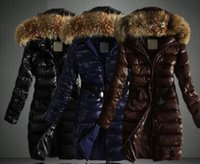 Wholesale Womens Cotton Overcoats - Womens Faux Fur collar Parka Down Cotton Overcoat Belt Hooded Padded coat quilted jacket Long Slim Fit Snow Warm 3Colors