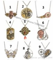 Wholesale Vintage Owl Clocks - 9 Style Mix Vintage Steampunk Necklace Antique Owl Clock Spider Love Pendant Chain Necklace Jewelry For Men Women a881