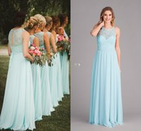 Wholesale floor length prom dress mint for sale - Group buy Hot Selling Mint Green Long Bridesmaid Dresses A Line Chiffon Sleeveless Open Back Sheer Neck Party Prom Gowns Maid of Honor Dress DTJ