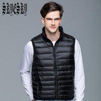 Wholesale Men S White Sleeveless Jacket - Wholesale- Ultralight Men 90% White Duck Down Jacket Winter Duck Down Coat Waterproof Down Parkas Outerwear Vest