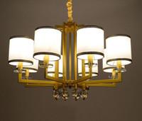 luzes suspensas clássicas venda por atacado-Lâmpada de pingente de ouro europeu com lâmpada de suspensão de babric