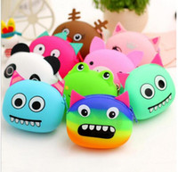 Wholesale silicone bag jelly - 10pc New Women Colorful Monster Animal Jelly Rubber Silicone Coin Purse Zipper Wallet Bag Children Kid Gift Mini Monederos Mujer