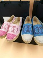 Wholesale Ladies Woolen Tops - Sequined Loafers Canvas Espadrilles New Arrival Top Quality Genuine Leather Classic Luxury fashion woolen Women Ladies Flats Plus Size