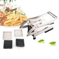 ingrosso tagliatrice a fetta-Strumento per patate fritte French Fry Cutter Potato Cutter Gadget da cucina Cetriolo affettatrice per tagliare fette ZA2672