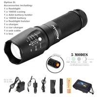 lanterna led usa venda por atacado-EUA UE Hot Sel E26 anodizado duro CREE XM-L T6 2000 Lumens 5-ModeTorch T6 + 6800 mAh 26650 carregador de Bateria CREE LEVOU Lanterna