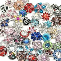 Wholesale Watch Wholesalers Singapore - Hot wholesale 50pcs lot High quality Mix Many styles 18mm Metal Snap Button Charm Rhinestone Styles Button watches Snaps Jewelry