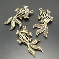 Wholesale Wholesale Dec - Wholesale- 10pcs pack Fish Necklace Pendant Antique Style Bronze Tone Brass Beautiful 30*24*7mm 3D Goldfish Jewelry Dec Accessories 03751