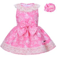 Wholesale Headband Big Pink Bow - Pettigirl Girl Pink Flower Print Dress Lace Collar Big Bow A line Kids Dresses Summer Girl Boutique Clothing With Headband G-DMGD001-1300