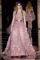 Wholesale Modern Design Pictures - New Couture Zuhair Murad Evening Dresses for Sale 3D Flora Appliques Dusty Pink Prom Dress Plus Size Latest Party Gown Design