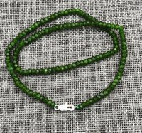 """Wholesale Emerald Abacus - New 2x4mm Faceted Natural drak green Emerald Abacus Gems Necklace 18"""" Silver clasp"""