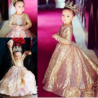 Wholesale Girl Dress Layer - Shinning Girls Pageant Dresses For Teens Layers Sequins Lace Long Sleeves Flower Girl Dress For Weddings Zipper Back Kids Party Dress