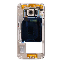 Wholesale bezel frame - Original Metal Middle Bezel Frame Case For Samsung Galaxy S6 G920F G920A G920P Single Card Version Housing with Camera Glass Side Button