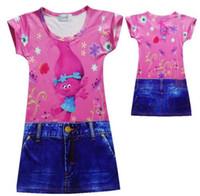 Wholesale jeans party dress - Summer Girls Trolls Dress Print Jeans Imitation Girl Trolls Princess Party Kid Dress White Child Clothing Children Dresses