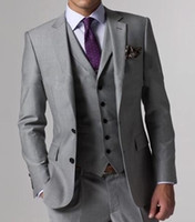 Wholesale Mens Blue Vest - High Quality Light Grey Side Vent Groom Tuxedos Groomsmen Best Man Mens Wedding Suits Bridegroom (Jacket+Pants+Vest+Tie) D:62