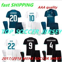 Wholesale Flash Football - 2018 2017 Real Madrid Home AWAY Soccer Jersey Kit socks 17 18 third blue soccer shirt Ronaldo Bale Football uniforms Asensio SERGIO RAMOS