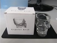 Wholesale 75ml Bottles Wholesale - 1 pc Doomed Skull Head Shot Glass Cup Wine Mug Beer Glass Mug Crystal Whisky Vodka Tea Coffee Cup 75ml Gift Water Bottle