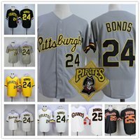 Wholesale Barry Bonds Giants Jersey - Mens Barry Bonds Vintage Jersey 1986 Pittsburgh Pirates #24 road throwback SF Giants 25 cooperstown black gray pinstripe white gold pullover