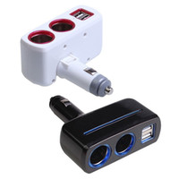 Wholesale Dual Splitter - Cigarette Lighter Dual USB Car Charger Splitter cigarette lighter 5V2.1A 1A car charger cigarette lighter socket splitter