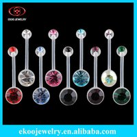 Wholesale One Rings Navel - (Min. order $10) Body Jewelry Bio Flexible Banana Double Gem Pregnancy Belly Ring 14 Gauge 5 8'' One of Each 9 Colors Lot of 9