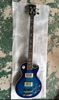 guitare frehley achat en gros de-Custom Ace Frehley Signature 4 cordes Guitare basse électrique Bleue Lightning Bolt Inlay Ace Frehley