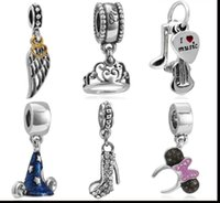 Wholesale Lucky Shoes Wholesale - Wholesale 10pcs Silver Charm Beads Lucky Silver Wings Crystal high-heel shoe Queen Crown I Love Music Minnie Clasp Fit European Bracelet