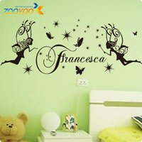 Frete Grátis Flying Angel Black Beautiful Francesca Vinyl Wall Decals Original 2014 Hot Selling Lettering Wall Stickers ZY8168