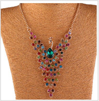 Paon De Strass En Cristal Coloré Pas Cher-Fashion Vintage Colorful Statement Necklace avec strass Crystal Waterdrop Peacock zinc Alliage Choker Jewelry pour femme à la vente
