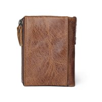 Wholesale JINBAOLAI HOT Genuine Crazy Horse Cowhide Leather Men Wallet Short Coin Purse Small Vintage Wallets Brand High Quality Designer
