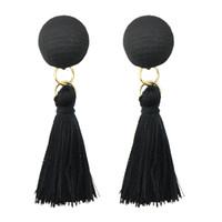 Wholesale Earrings Indian Tassel - Indian Jewelry Bohemian Style Black Cotton Thread Tassel Long Dangle Earrings For Women Maxyum Wholesale