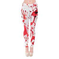 Wholesale Blood Leggings - Women Leggings Red Blood Fingerprint Digital 3D Graphic Full Print Girl Skinny Stretchy Gym Yoga Wear Pants Fitness Capris Trousers (J31167)