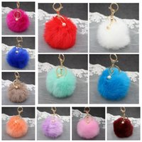 Wholesale key chain ball for sale - Group buy Rabbit Fur Ball Keychain Plush Car Key Chain cm Handbag Key Ring Pendant Colors OOA2581