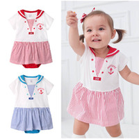 Wholesale Stripes Navy Romper - Navy Dress Baby Onesies baby clothes stripe Jumpsuit Rompers Infant One Piece Clothing Newborn Romper kids clothing baby girls clothes A485