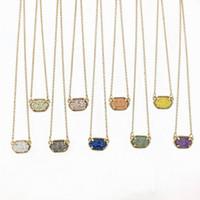 Wholesale Oval Link Chain Wholesale - Wholesale-Fashion Oval Druzy Choker Pendant Necklace for Women Quartze Oval Pendant Druzy Necklace Hot Selling