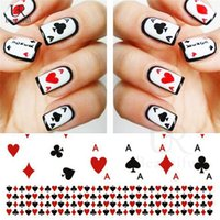 Wholesale Poker Stickers - Wholesale- 1 Sheet Poker Fashion Water Transfer Nail Art Sticker Playing Cards Design Tips Manicure Nail Art Decals STZ-252