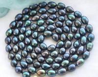 perla natural 12mm al por mayor-10-12mm Nuevo Collar de Perlas Naturales de Tahití Negro 48 pulgadas 14k Accesorios de oro