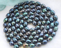 Wholesale Tahitian Pearls 8mm - AAA 7-8mm New Tahitian Black Natural Pearl Necklace 48 inch 14k gold