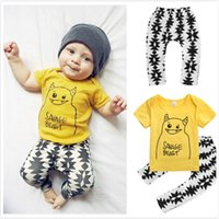 Wholesale Yellow Minion Kids T Shirts - 2pcs Children 1 2 3 4 5 Y Toddler Infant Kid Boy Girl Clothes 2pcs Sets Minions Cartoon Yellow T-shirt Tops + Pants Clothing Set