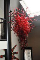 araña de color rojo al por mayor-Modern Wedding Red Chandelier Glass Entrega rápida Tamaño del color Estilo personalizado 100% Tubos de vidrio soplado