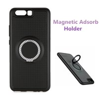 Wholesale Chinese Finger Rings - Hybrid Armor Cases 3 in 1 Design Finger Ring Mobile Phone Holder Magnetic Back Cover For iPhone 7 6 plus Samsung S8 HUAWEI