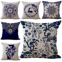 Wholesale Cover Pillows China - China Blue and White Porcelain Flower Throw Pillow Cases Cushion Cover linen Cotton Square Pillowcase Home sofa Bed Textiles Decor 240428