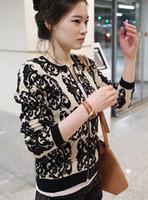 Wholesale Blazer Porcelain - Wholesale-2016 new autumn winter women knit sweater loose knit blazer black porcelain blue cardigan knitted sweaters Print WL2031