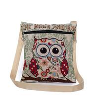 bolsas de impressão de desenhos animados venda por atacado-2017 Nova Zíper Feminino Mini Flap Bolsas de Ombro Dos Desenhos Animados Coruja Impresso Sacos de Lona Das Mulheres Pequeno Ombro Messenger Bags