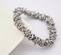 Wholesale Metal Stretch Bangle Bracelet - Making 316L stainless steel chain link silver metal charm stretch bracelet fashion elastic stretchy Gold Color bangle bracelets for women